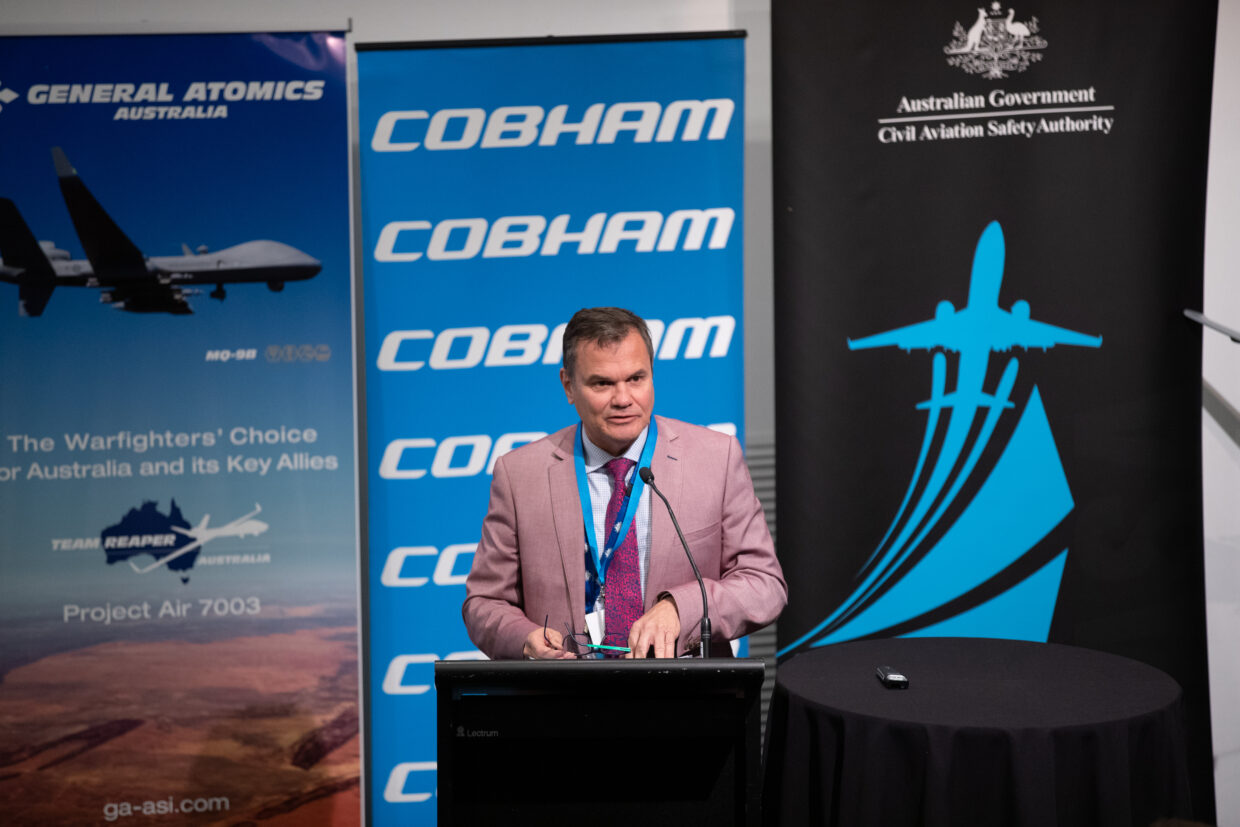 ATSB chief commissioner Greg Hood delivering RPAS accident and incident data at AAUS RPAS in Australian Skies conference